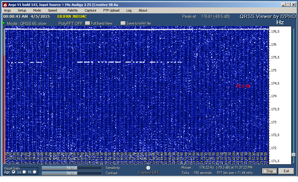 G3XDV in slow CW QRSS/60 in 136kHz