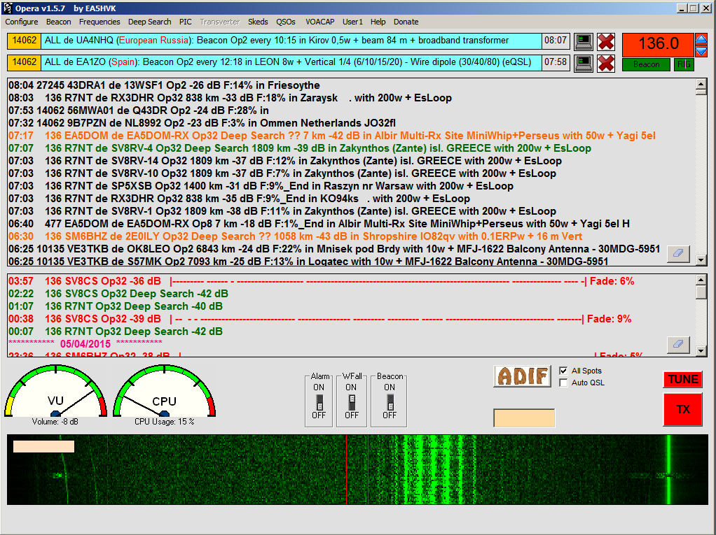 Opera32 stations in 136kHz