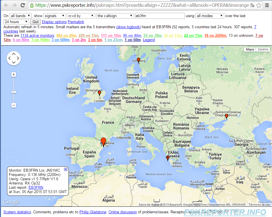 pskreporter.info maps with the OPERA-32 stations received at 136kHz