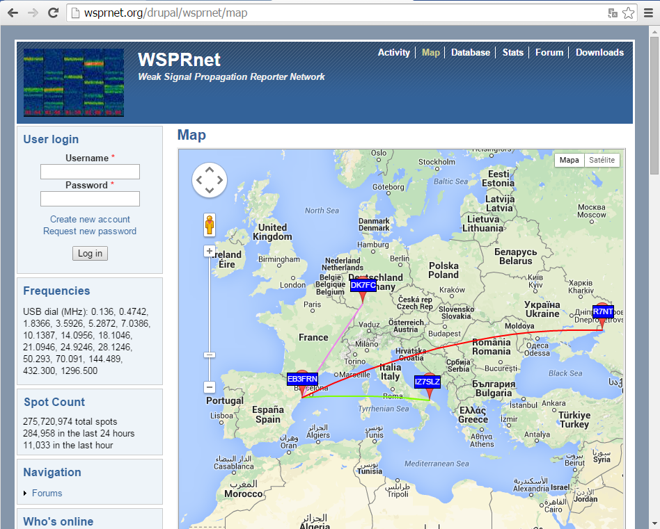wsprnet.org map with the WSPR-2 stations received in 136kHz